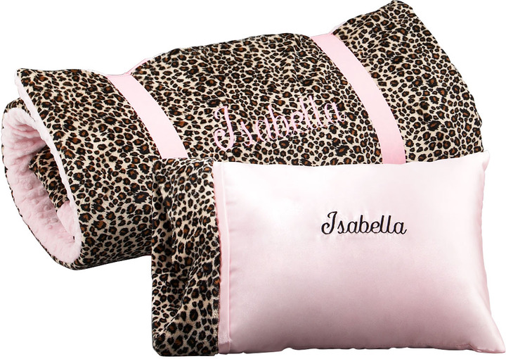 Swankie Blankie Cheetah-Print Pillow, Monogram
