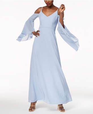 Betsy & Adam Cold-Shoulder Angel-Sleeve Gown