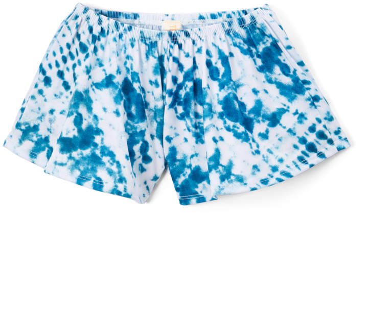 White & Blue Tie-Dye Shorts – Girls