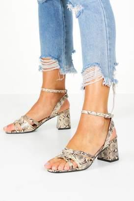 boohoo Extra Wide Fit Woven Block Heels