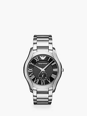AR11086 Men's Bracelet Strap Watch, Silver/Black