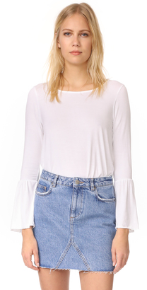 Three Dots Long Sleeve Flounce Top $105 thestylecure.com