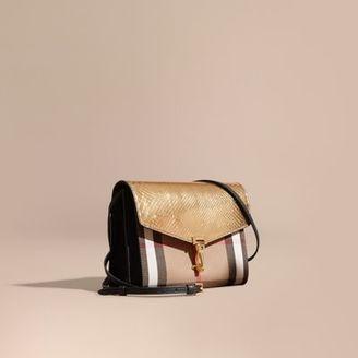 Burberry Small Metallic Python and House Check Crossbody Bag $2,150 thestylecure.com