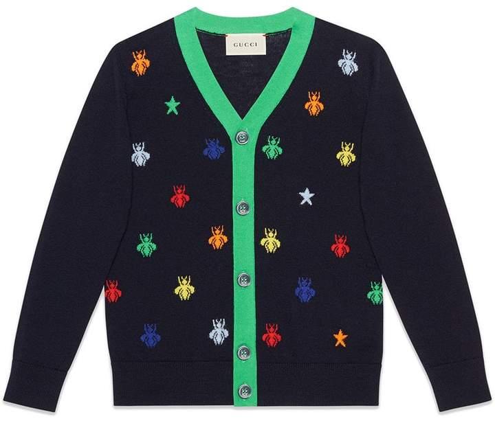 Gucci Kids Children's bees and stars jacquard merino cardigan