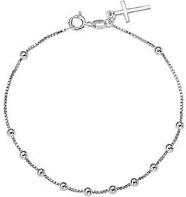Italian Silver Beaded Cross Dangle Bracelet Ste