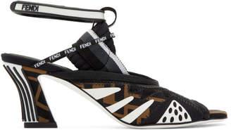 Fendi Brown and Black FFreedom Mesh Sandals