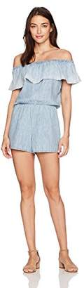Michael Stars Women's Linen Denim Tencel Covertible Strapless Romper