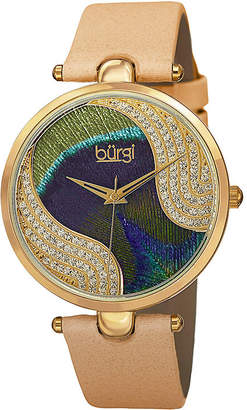 Burgi Womens Tan and Gold Tone Strap Watch
