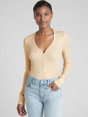Gap Metallic Rib-Knit Long Sleeve Henley