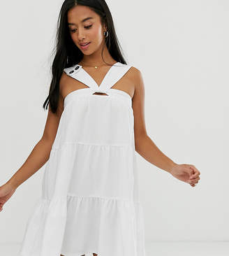 Asos DESIGN Petite Exclusive twist front mini trapeze sundress