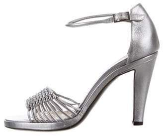 Pollini Leather Ankle Strap Sandals Silver Leather Ankle Strap Sandals