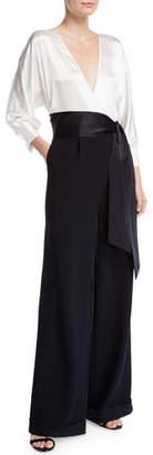 Diane von Furstenberg Marle Tie-Front Wide-Leg Jumpsuit