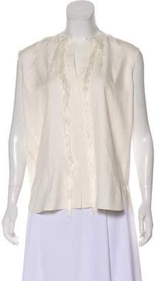 Helmut Lang Silk Faux Fur-Trimmed Top