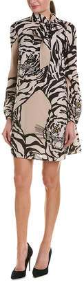 Valentino Tie-Neck Tiger Print Shift Dress