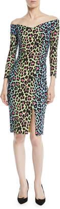 Chiara Boni Irene Leopard-Print Bateau-Neck Cocktail Sheath Dress