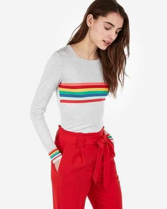 Express Rainbow Crew Neck Sweater