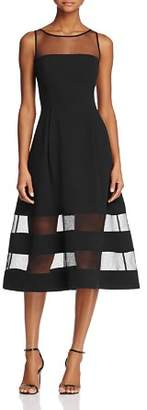Aidan Mattox Aidan Aidan Illusion Fit-and-Flare Dress