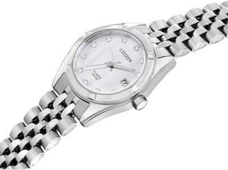 Citizen Swarovski Crystal Mother-of-Pearl Dial Stainless Steel Bracelet Ladies Gift Set
