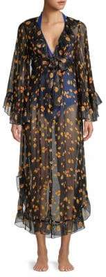 Anna Sui Silk Floral Print Wrap Cover-Up