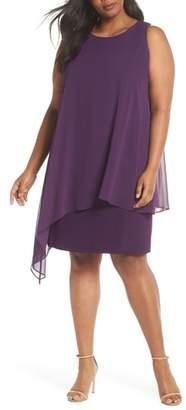 Tahari Chiffon Overlay Sheath Dress