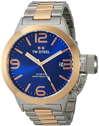TW Steel Canteen Unisex Quartz Watch with Blue Dial Analogue Display and Silver Stainless Steel Bracelet CB141