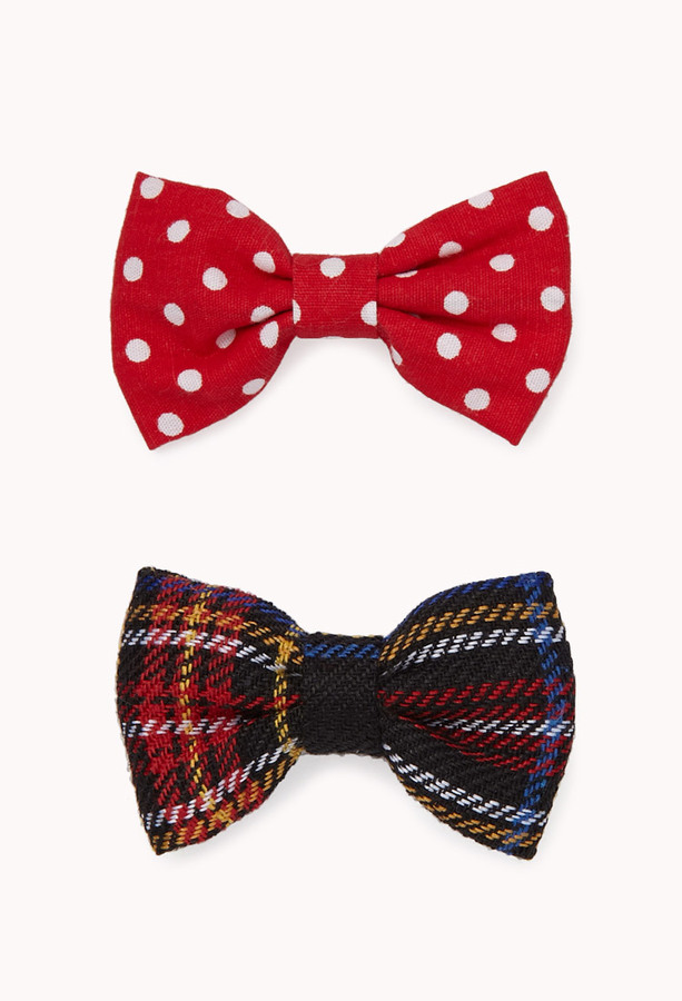 Forever 21 Polka Dot & Plaid Hair Clips