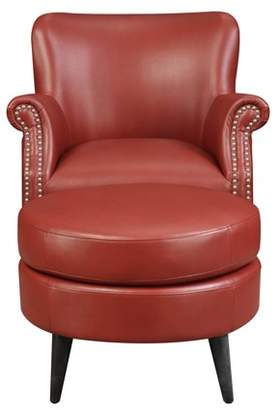 Emerald Home Oscar Red Accent Chair + Ottoman with Faux Leather Upholstery And Nailhead Trim