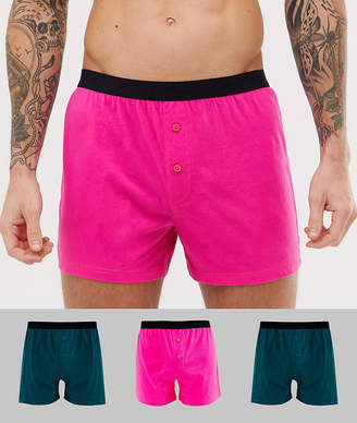 Asos Design DESIGN jersey boxer in pink and green 3 pack multipack saving