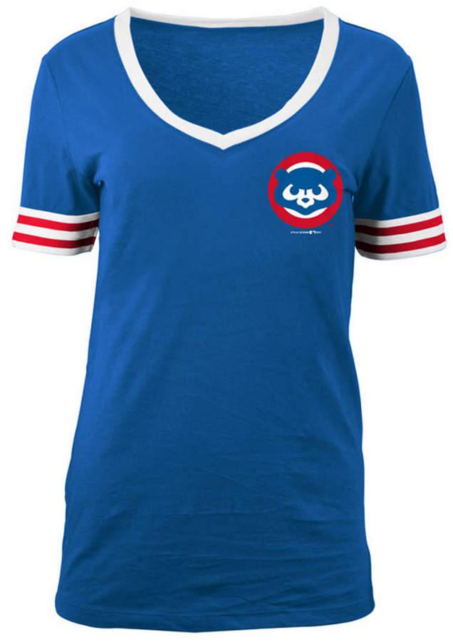 5th & Ocean Women's Chicago Cubs Retro V-Neck T-Shirt ...