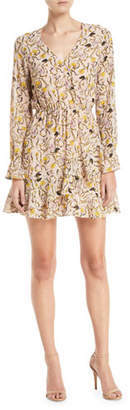 Cupcakes And Cashmere Lesli Short Floral Long-Sleeve Dress