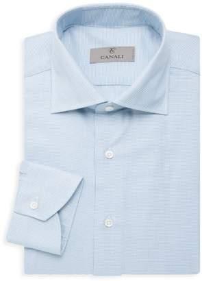 Modern-Fit Grid Dress Shirt