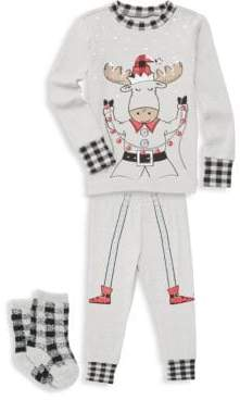 Petit Lem Baby Boy's Pajama Top, Cotton Pants & Socks Set