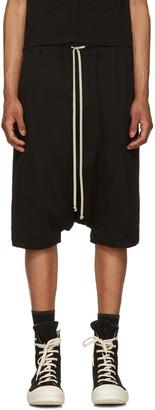 Rick Owens Drkshdw Black Jersey Pods Shorts $435 thestylecure.com