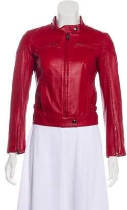Fendi Leather Zip-Up Jacket