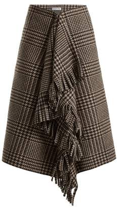 Balenciaga Houndstooth Virgin Wool Skirt - Womens - Brown Multi
