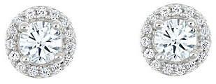 Affinity Diamond Jewelry Round Diamond Halo Stud Earrings, 14K, 1/2 cttw