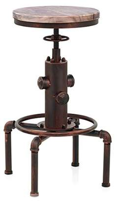 Topower American Antique Vintage Industrial Barstool Solid Wood Water Pipe Fire Hydrant Design Cafe Coffee Industrial Bar Stool (Red Bronze)