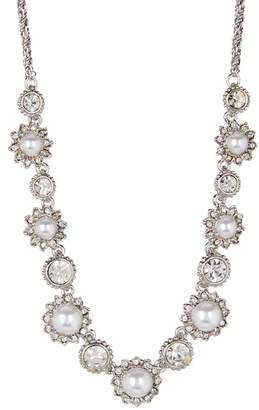 Marchesa Faux Pearl & Crystal Frontal Necklace
