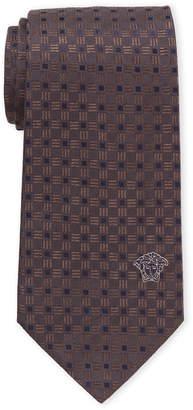 Versace Brown Patterned Silk Tie