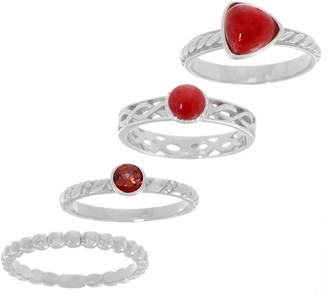 Gemstone Set of Four Sterling Silver Stack Rings