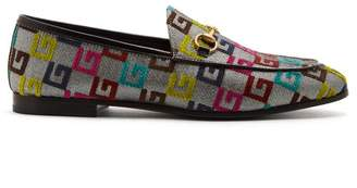 Gucci Jordaan Jacquard Loafers - Womens - Silver Multi