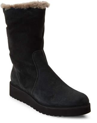 Luca Grossi Dark Grey Real Fur-Lined Suede Boots