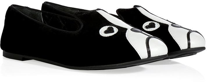 Marc by Marc Jacobs Black/White Velvet/Leather Dog Slipper-Style Loafers