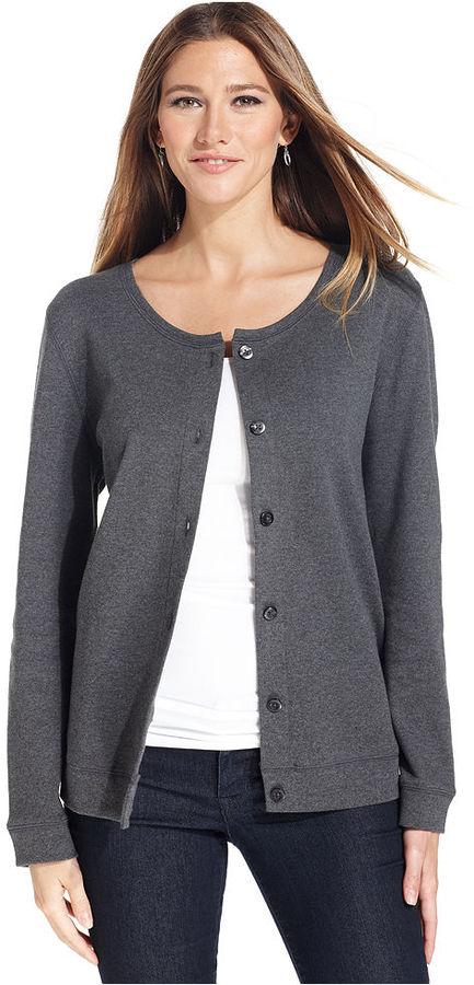 Karen Scott Cardigan, Long-Sleeve Cotton