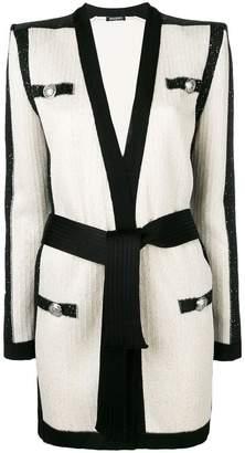 Balmain contrasting panels cardi-coat