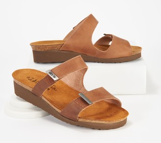 Naot Footwear Leather Slide Wedge Sandals