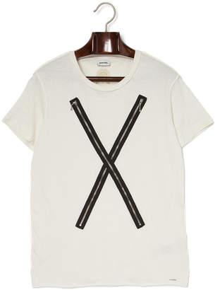 Diesel (ディーゼル) - DIESEL クロスデザインxジップ クルーネック 半袖Tシャツ オフホワイト m