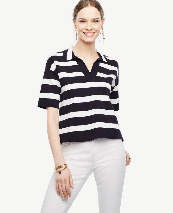 Ann TaylorPetite Striped Polo Sweater