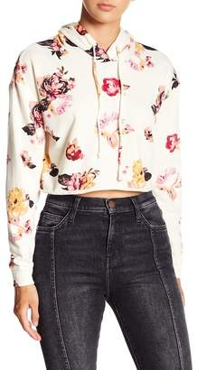 Love, Fire Floral Print Cropped Hoodie