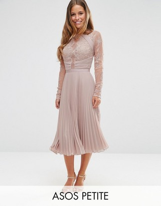 ASOS Petite ASOS PETITE WEDDING Pretty Lace Eyelash Pleated Midi Dress $121 thestylecure.com